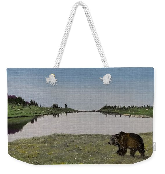 Weekender Tote Bag featuring the painting Bear Reflecting by Kevin Daly