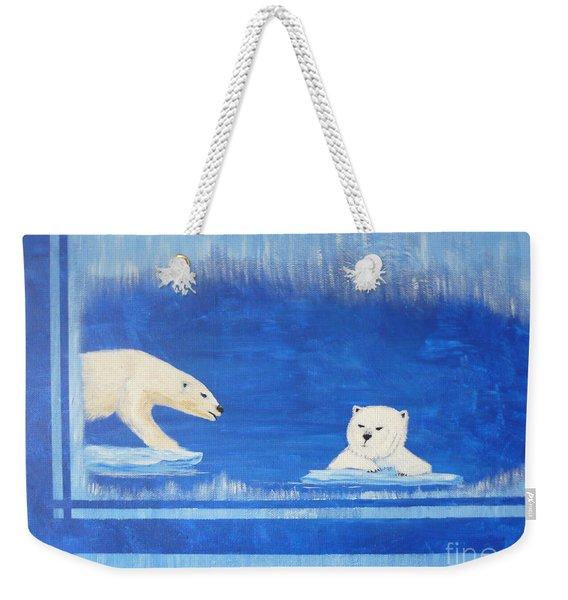 Bears In Global Warming Weekender Tote Bag