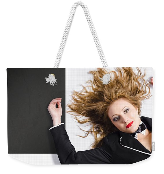 Beautiful Blond Girl With Healthy Long Hair Weekender Tote Bag