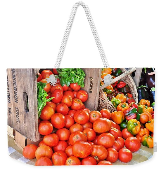 Weekender Tote Bag featuring the photograph The Bountiful Harvest At The Farmer's Market by Kim Bemis