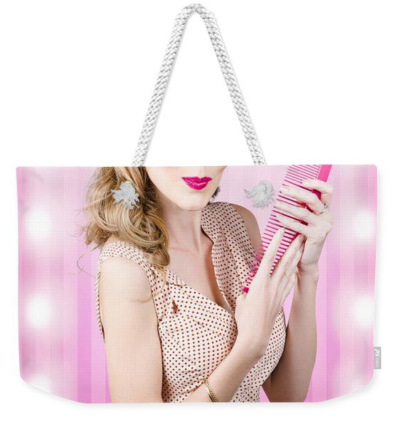 Beautiful Brunette Girl With 50s Pinup Hairstyle Weekender Tote Bag
