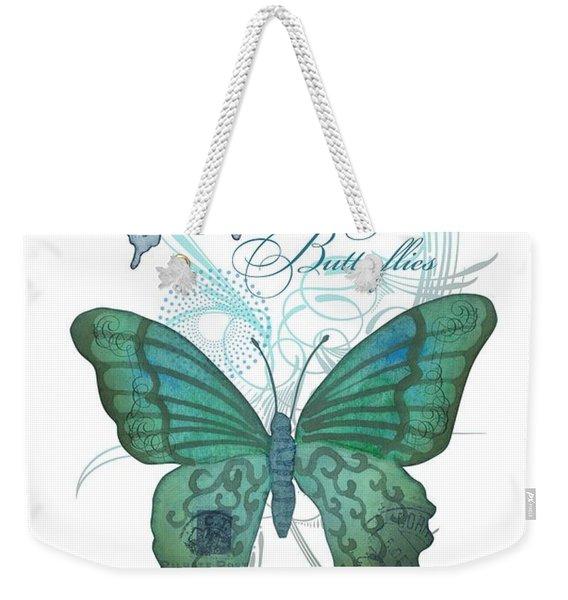 Beautiful Butterflies N Swirls Modern Style Weekender Tote Bag