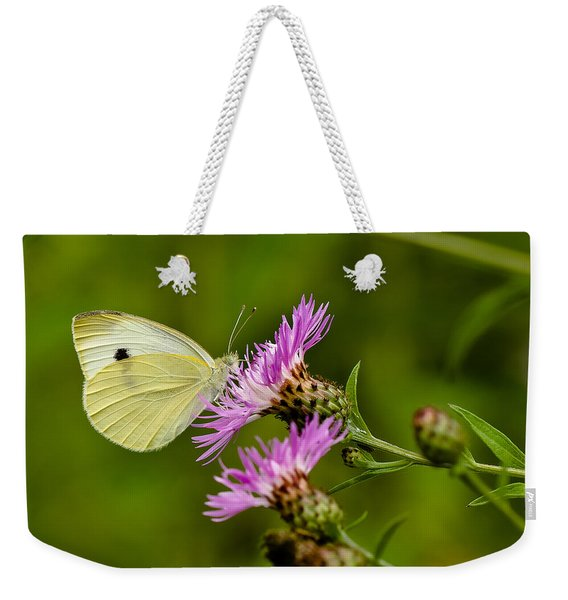 Beautiful Butterfly On Pink Thistle Weekender Tote Bag