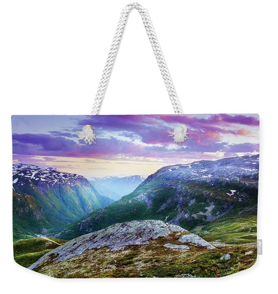 Weekender Tote Bag featuring the photograph Light In A Valley by Dmytro Korol