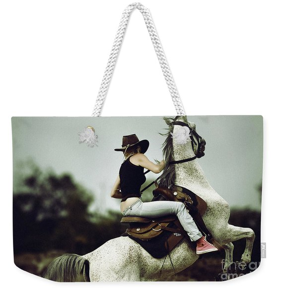 Beautiful Girl Ridingwhite Horse Weekender Tote Bag