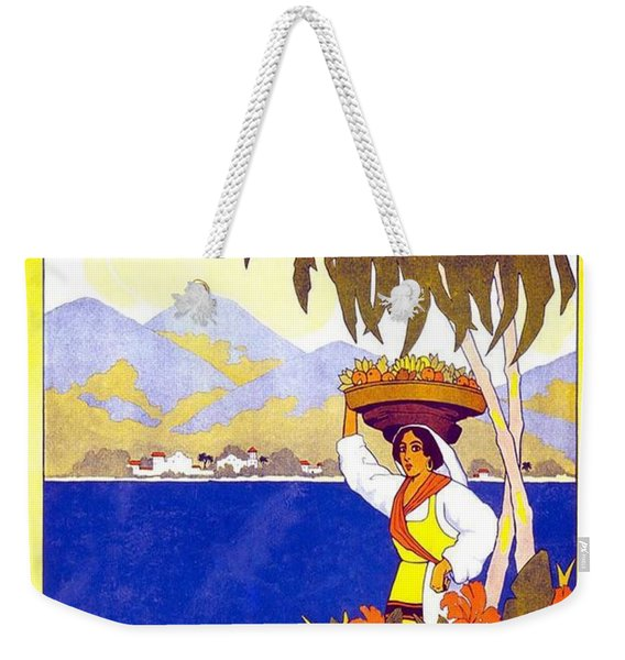 Beautiful Jamaican Landscape Illustration - Vintage Travel Poster - Gem Of The Tropics Weekender Tote Bag