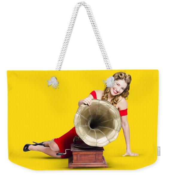 Beautiful Pinup Woman Listening To Old Gramophone Weekender Tote Bag