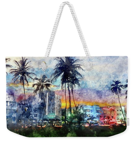 Beautiful South Beach Watercolor Weekender Tote Bag