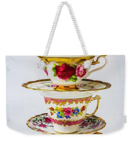 Beautiful Stacked Tea Cups Weekender Tote Bag