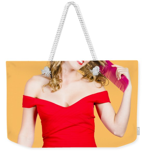 Beautiful Woman With Long Curly Hair And Brush Weekender Tote Bag