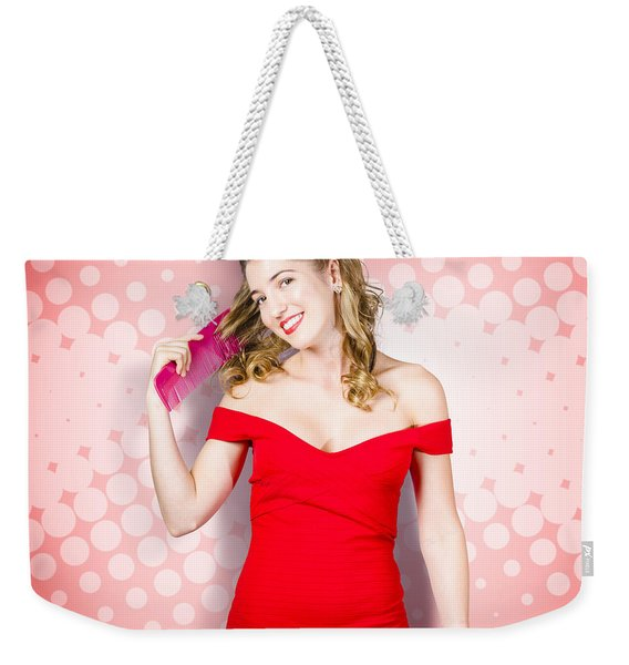 Beauty Pinup Model Straightening Rolled 50s Hair Weekender Tote Bag