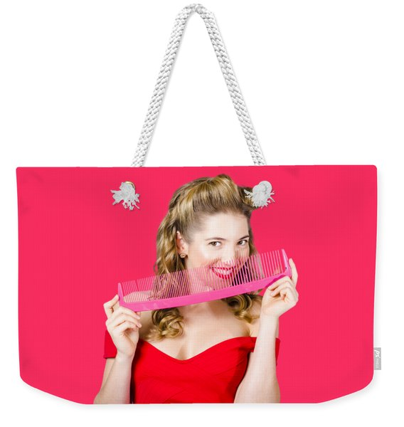 Beauty Salon Pinup Girl Smiling With Haircare Comb Weekender Tote Bag