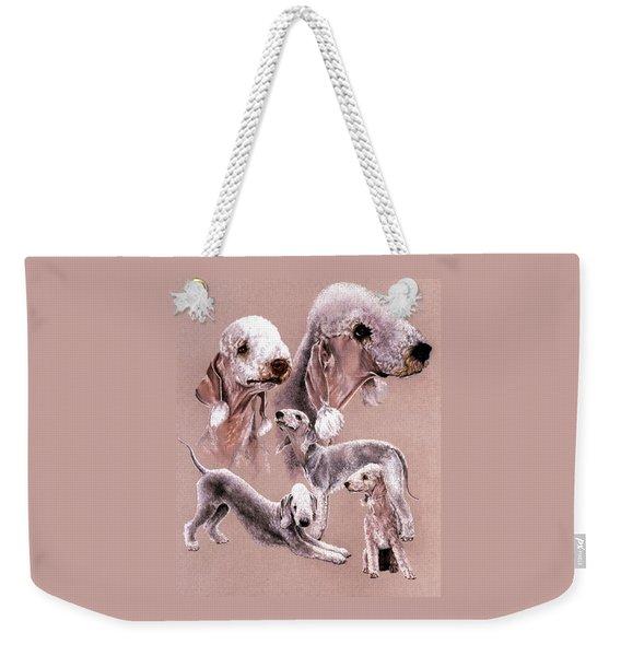 Weekender Tote Bag featuring the drawing Bedlington Terrier by Barbara Keith
