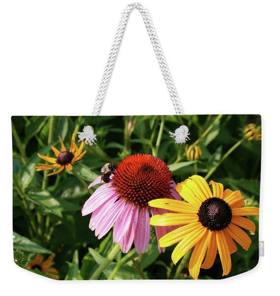 Bee On The Cone Flower Weekender Tote Bag