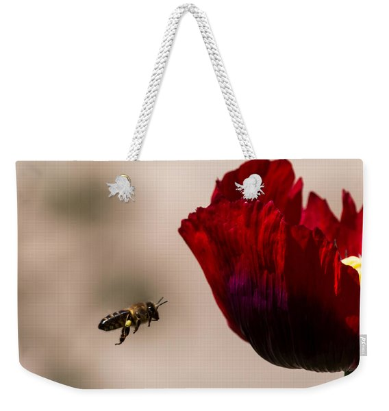 Bee Right Profile Flying To Red Flower Weekender Tote Bag