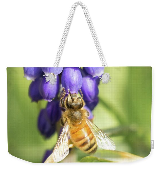 Weekender Tote Bag featuring the photograph Bee Struggles by Brian Hale