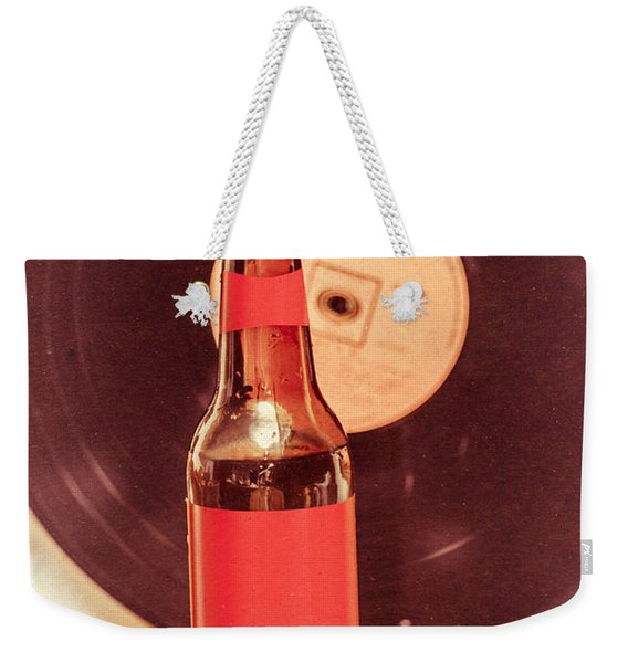 Beer Bottle On Bar Counter Top With Vinyl Record Weekender Tote Bag