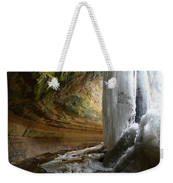 Behind The Ice Falls Weekender Tote Bag