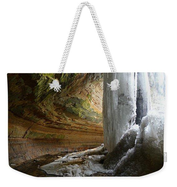 Behind The Ice Falls Weekender Tote Bag