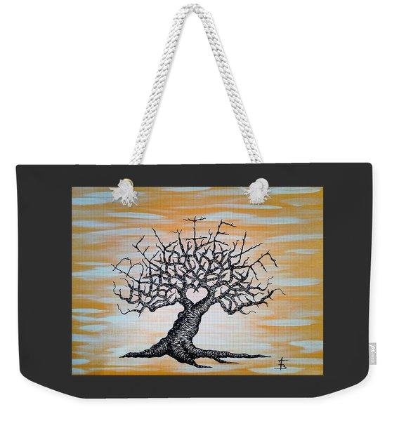 Weekender Tote Bag featuring the drawing Believe Love Tree by Aaron Bombalicki