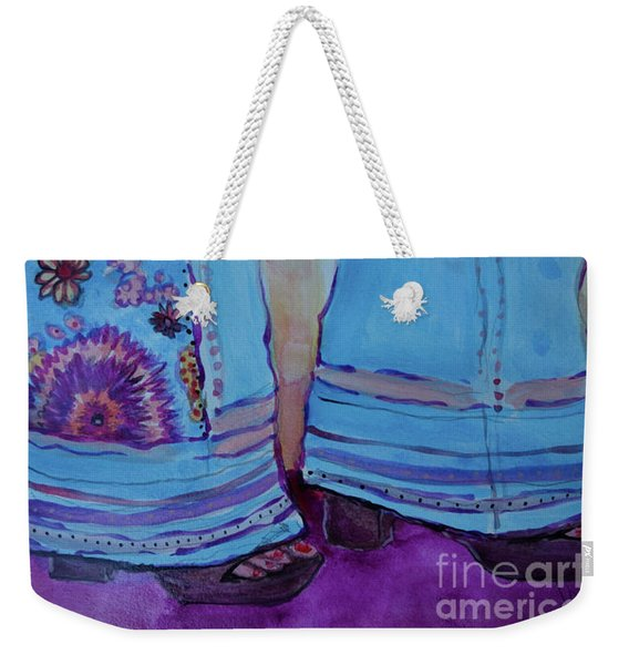 Weekender Tote Bag featuring the painting Bell Bottoms by Jacqueline Athmann