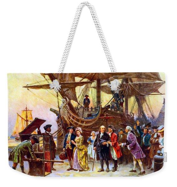 Ben Franklin Returns To Philadelphia Weekender Tote Bag
