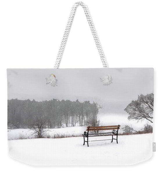 Bench In Snow Weekender Tote Bag