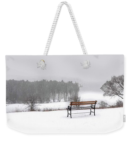 Bench In Snow Weekender Tote Bag