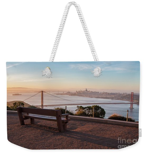 Bench Overlooking Downtown San Francisco And The Golden Gate Bri Weekender Tote Bag