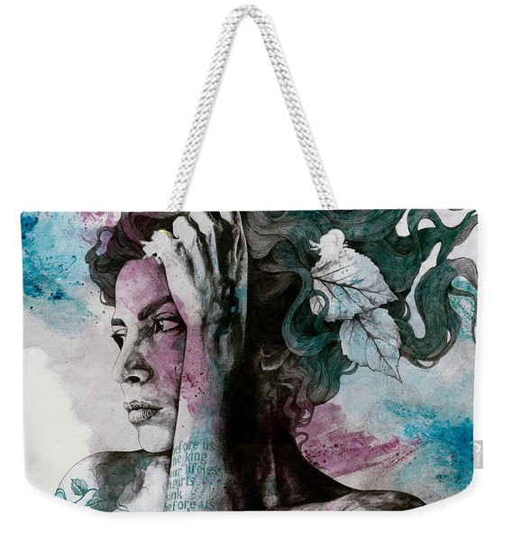 Beneath Broken Earth - Street Art Drawing, Woman With Leaves And Tattoos Weekender Tote Bag