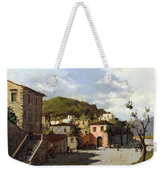 Weekender Tote Bag featuring the painting Provincia Di Benevento-italy Small Town The Road Home by Rosario Piazza