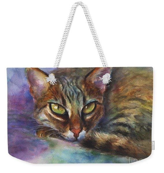 Bengal Cat Watercolor Art Painting Weekender Tote Bag
