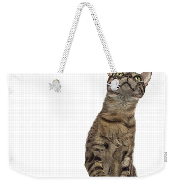 Bengal Cat With Butterfly Weekender Tote Bag
