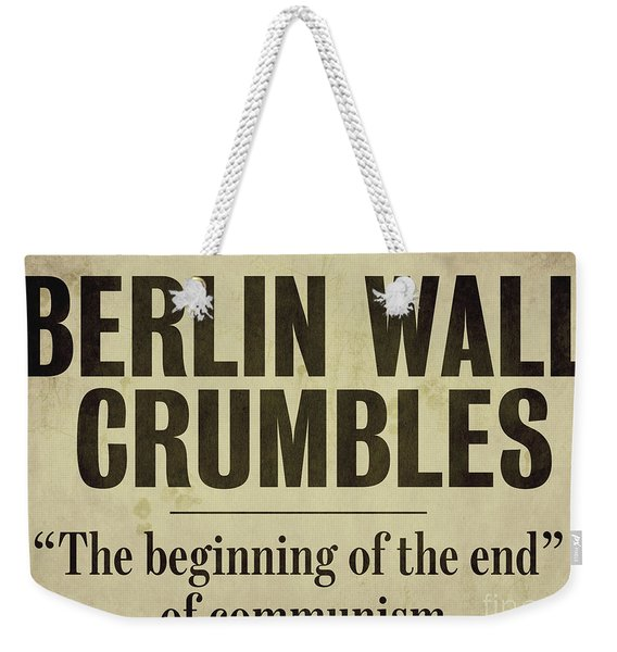 Berlin Wall Newspaper Headline Weekender Tote Bag