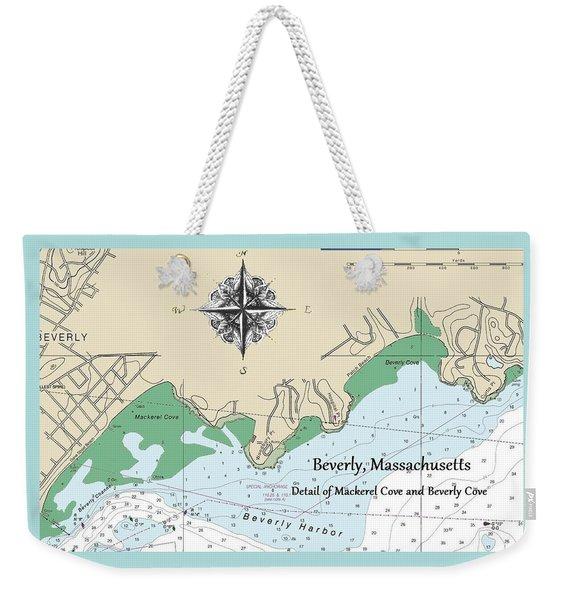 Beverly Cove Nautical Map Weekender Tote Bag