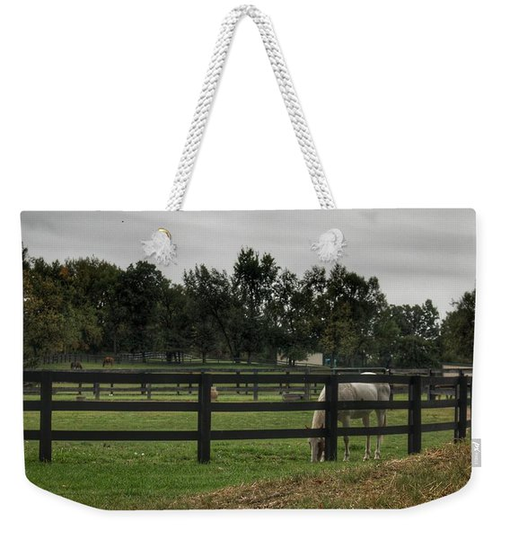 1004 - Beyond The Fence White Horse Weekender Tote Bag