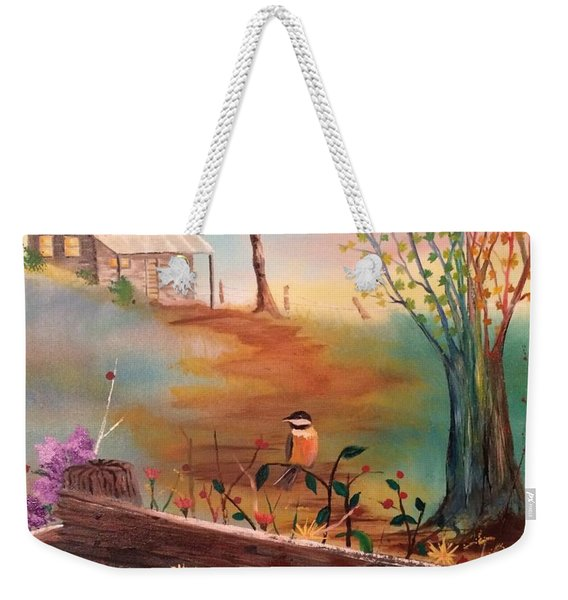 Weekender Tote Bag featuring the painting Beyond The Gate by Denise Tomasura