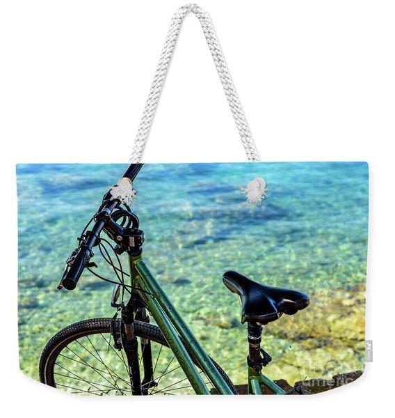 Bicycle By The Adriatic, Rovinj, Istria, Croatia Weekender Tote Bag