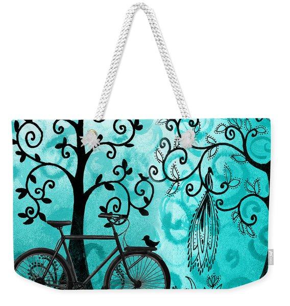 Bicycle In Whimsical Forest Weekender Tote Bag