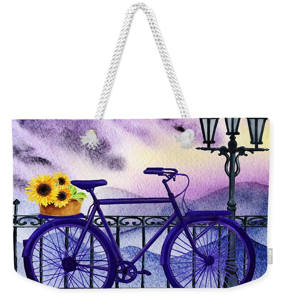 Blue Bicycle And Sunflowers By Irina Sztukowski  Weekender Tote Bag