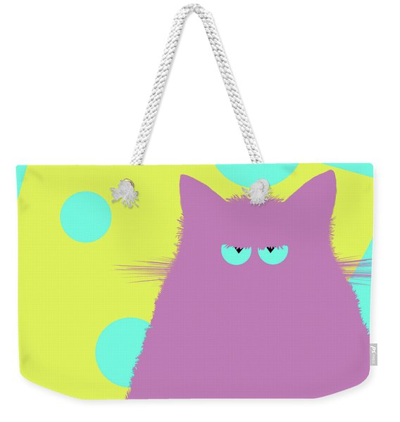 Big Cheese Lilac Cat Weekender Tote Bag