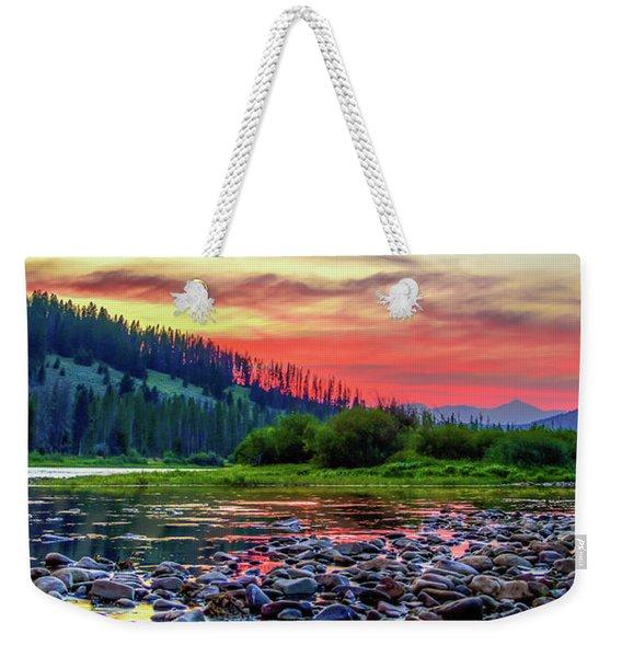 Big Hole River Sunset Weekender Tote Bag