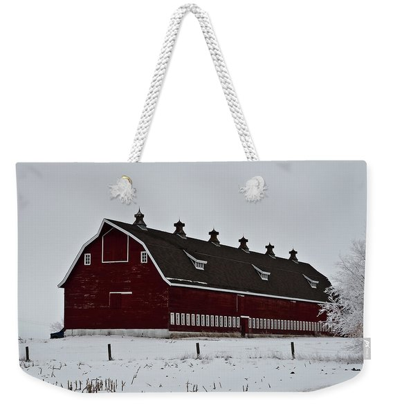 Big Red Barn In The Winter Weekender Tote Bag