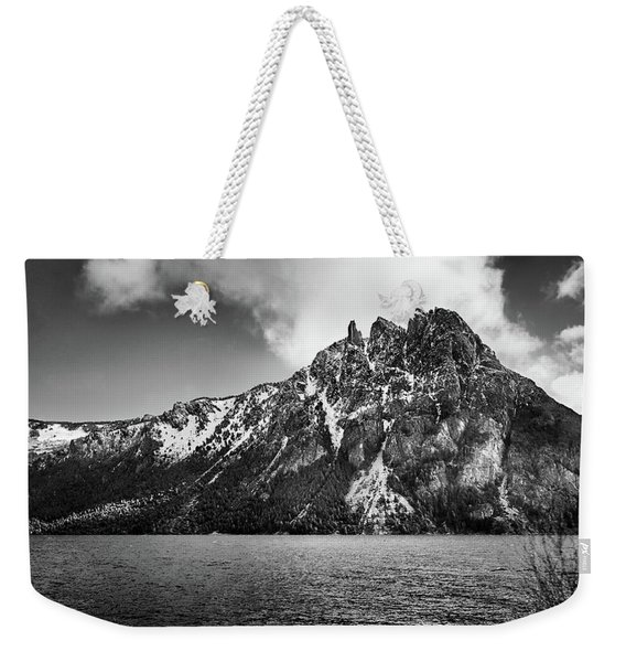 Big Snowy Mountain In Argentine Patagonia - Black And White Weekender Tote Bag
