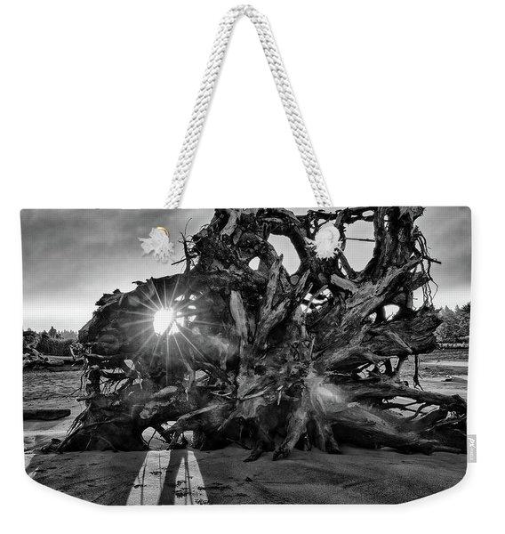 Big Tree On The Beach At Sunrise In Monochrome Weekender Tote Bag