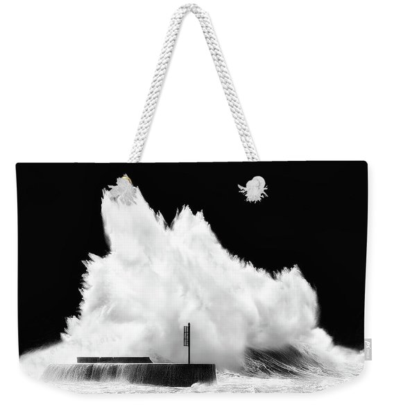Big Wave Breaking On Breakwater Weekender Tote Bag