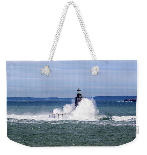 Big Wave Hits Ram Island Ledge Light Weekender Tote Bag