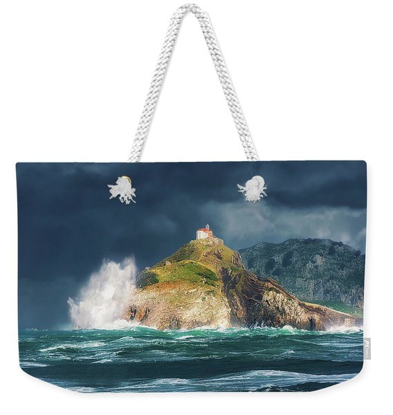 Big Waves Over San Juan De Gaztelugatxe Weekender Tote Bag