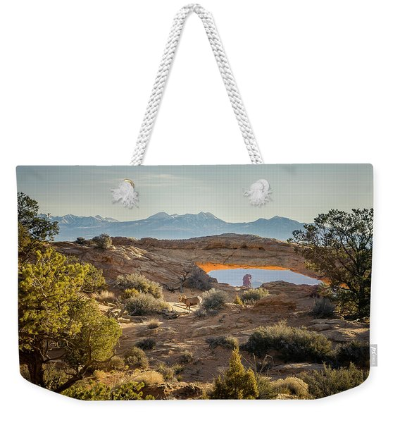 Bighorn Sheep And Mesa Arch Weekender Tote Bag