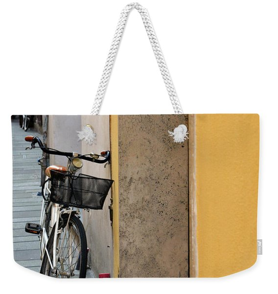 Bike Near A Yellow Wall In Foligno, Italy Weekender Tote Bag
